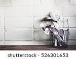 vintage cutlery on rustic... | Shutterstock . vector #526301653