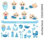 set of cute baby boys and baby... | Shutterstock .eps vector #526310044