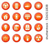 ecology icons vector set of red ... | Shutterstock .eps vector #526311838