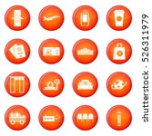 airport icons vector set of red ... | Shutterstock .eps vector #526311979