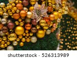 christmas decorations on blue... | Shutterstock . vector #526313989