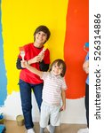adorable boy in bright paint... | Shutterstock . vector #526314886