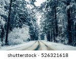Winter Road And Forest Snow