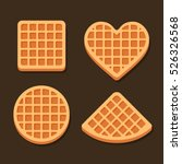 Belgium Waffles Icon Set On...