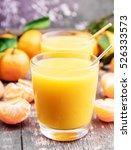 fresh citrus juice on wooden...   Shutterstock . vector #526333573