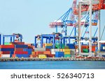 port cargo crane and container... | Shutterstock . vector #526340713