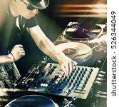 dj playing disco house... | Shutterstock . vector #526344049