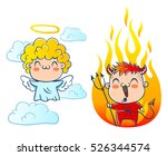 angel on cloud and devil with... | Shutterstock .eps vector #526344574