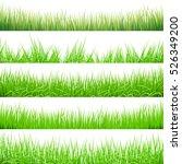 5 backgrounds of green grass ... | Shutterstock .eps vector #526349200