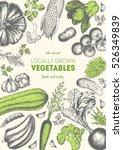 vegetables top view frame.... | Shutterstock .eps vector #526349839