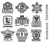 set of vector wild west logos ... | Shutterstock .eps vector #526355488