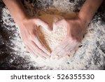 female hands holding dough in... | Shutterstock . vector #526355530