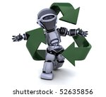 3D render of a robot and recycle sign - stock photo