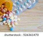 closeup group of pill and...   Shutterstock . vector #526361470