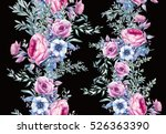 watercolor vintage floral... | Shutterstock . vector #526363390
