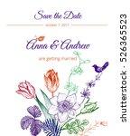 vintage floral wedding...   Shutterstock .eps vector #526365523