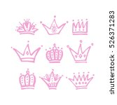 set of vector hand drawn crowns ... | Shutterstock .eps vector #526371283
