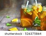 Orange Iced Tea In A Glass Jar...
