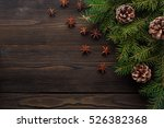 christmas composition on wooden ... | Shutterstock . vector #526382368