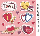 pack of love stickers with... | Shutterstock .eps vector #526393219