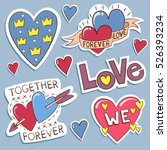 pack of love stickers with... | Shutterstock .eps vector #526393234
