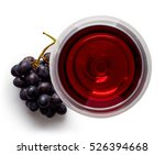 glass of red wine and grapes... | Shutterstock . vector #526394668