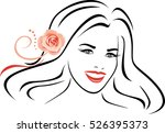 beautiful woman with pink rose... | Shutterstock .eps vector #526395373