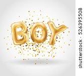 gold letter boy balloons.... | Shutterstock .eps vector #526395508