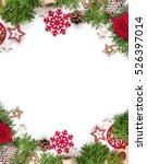 christmas still life. red toys  ... | Shutterstock . vector #526397014