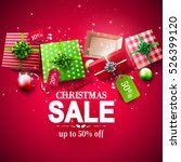 christmas sale poster with red... | Shutterstock .eps vector #526399120
