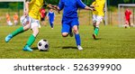 soccer players running and... | Shutterstock . vector #526399900