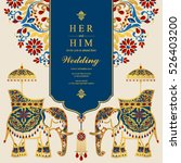 indian wedding card  elephant...
