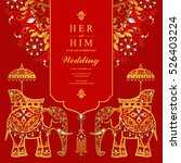 indian wedding card  elephant... | Shutterstock .eps vector #526403224