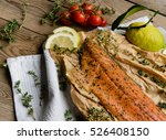 smoked salmon trout | Shutterstock . vector #526408150