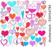hearts monochrome valentines... | Shutterstock .eps vector #526416784