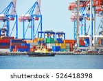 tugboat and crane in harbor... | Shutterstock . vector #526418398