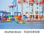 tugboat and crane in harbor... | Shutterstock . vector #526418428