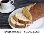 christmas cake log on a wooden...   Shutterstock . vector #526421650