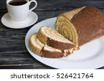 christmas cake log on a wooden...   Shutterstock . vector #526421764