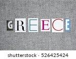 greece word on grey background | Shutterstock . vector #526425424