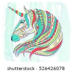 patterned head of the unicorn... | Shutterstock .eps vector #526426078