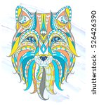 patterned head of the fox on... | Shutterstock .eps vector #526426390