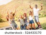group of happy friends having... | Shutterstock . vector #526433170