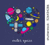 hand drawn space icons... | Shutterstock .eps vector #526434286