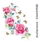 pink rose and butterflies.... | Shutterstock . vector #526434988