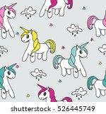 unicorns seamless pattern.... | Shutterstock .eps vector #526445749