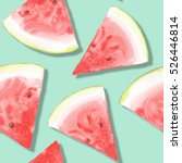 Watermelon Pattern. Watercolor...