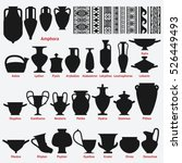 set of antique greek vases and... | Shutterstock .eps vector #526449493