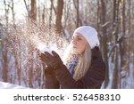 Beauty Winter Girl Blowing Sno...