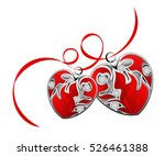 red ribbon with two hearts... | Shutterstock .eps vector #526461388